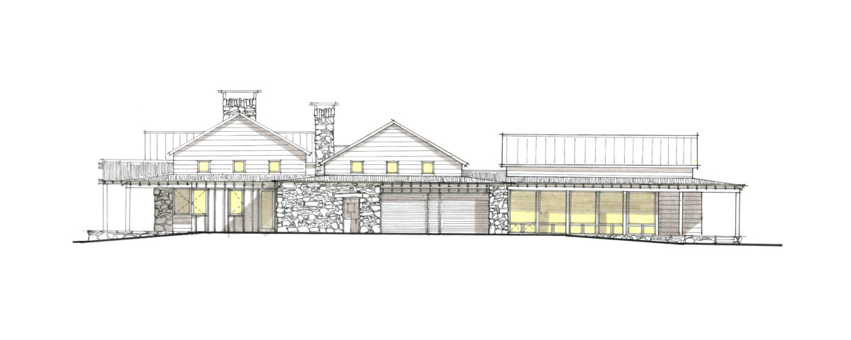 River Island Ranch South Elevation Sketch